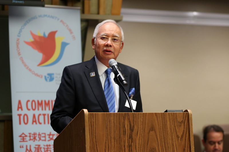 "Malaysia: Prime Minister Najib Razak ""Malaysia has always stood by the Beijing Declaration and Platform for Action… Malaysia has a long tradition of empowering women. … In Malaysia, we aim to achieve high-income nation status by 2020. But we cannot do this without women being equal partners, and we need them to be drivers of growth – growth that will bring prosperity to all our citizens. … In our last budget, we made upholding the role of women one of our main strategies. ... We set a target of increasing the female labour participation rate from 54 per cent as of last year to 59 per cent by 2020. And next year, all Malaysian public companies must disclose their level of gender diversity in their annual reports. … As we are aware that single mothers and female-headed households are often socially and economically disadvantaged, particularly in rural areas, my Government is going to launch a national action plan to empower single mothers next month."" World leaders convene at the United Nations on 27 September 2015 for the ""Global Leaders' Meeting on Gender Equality and Women's Empowerment: A Commitment to Action"" to personally commit to ending discrimination against women by 2030 and announce concrete and measurable actions to kick-start rapid change in their countries. Read More: http://www.unwomen.org/en/news/stories/2015/9/press-release-global-leaders-meeting Read every country's committment from the event: http://beijing20.unwomen.org/en/step-it-up/commitments Photo: UN Women/Ryan Brown"