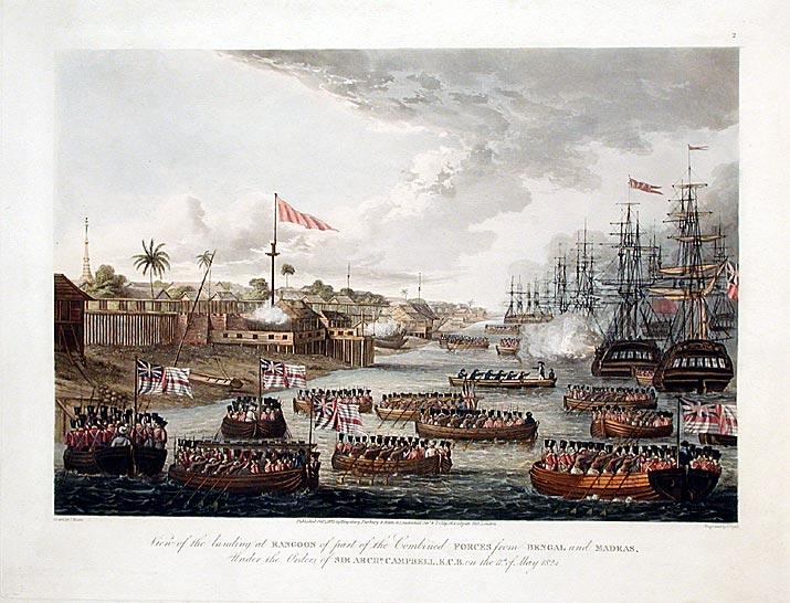 英國海軍在1824年5月第一次英緬戰爭後進入仰光港_wikipedia.jpg